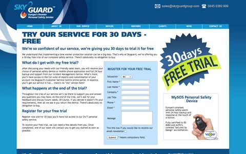 Screenshot of Trial Page skyguardgroup.com - Skyguard – Trial our Service for 30 Days FREE - captured Oct. 4, 2014