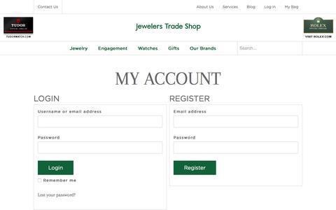 Screenshot of Login Page jewelerstradeshop.com - My Account - Jewelers Trade Shop - captured Jan. 9, 2016