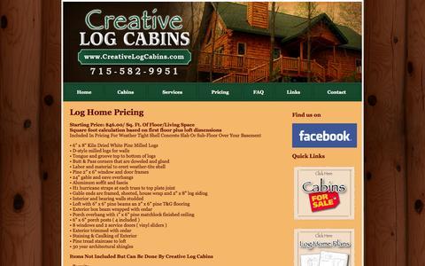 Screenshot of Pricing Page creativelogcabins.com - Pricing for Log Homes  ||  Creative Log Cabins  || Peshtigo, WI - captured Sept. 30, 2014