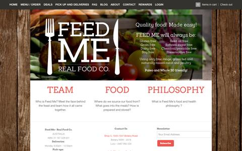Screenshot of About Page feed-me.com.au - About – Feed Me - Real Food Co. - captured Nov. 3, 2014