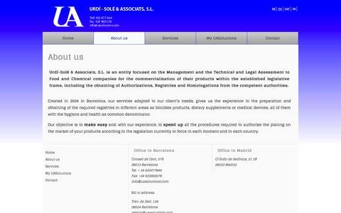 Screenshot of About Page uasolucions.com - About us| Urdí - Solé Associats - captured Oct. 4, 2014