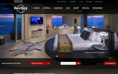 Screenshot of Home Page hardrock.com - Hard Rock - Home - captured Sept. 18, 2014