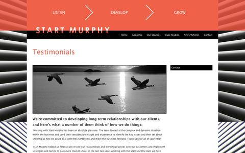 Screenshot of Testimonials Page startmurphy.co.uk - Testimonials - Start Murphy - captured Oct. 7, 2014