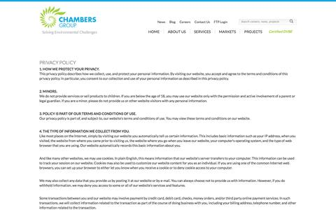 Screenshot of Privacy Page chambersgroupinc.com - Privacy Policy | Chambers Group Inc., Solving Environmental Challenges - captured Sept. 29, 2014