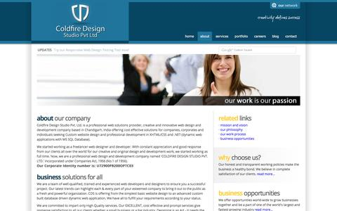 Screenshot of About Page coldfiredesignstudio.com - Web Design Company Chandigarh Punjab India - captured Sept. 8, 2016
