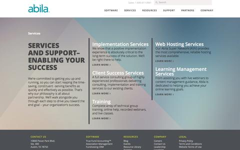 Screenshot of Services Page abila.com - Nonprofit and Association Services | Abila - captured Feb. 23, 2017