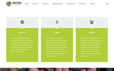 Screenshot of Products Page matrixglobalsa.com - PRODUCTS | Matrix Global - captured Aug. 9, 2016