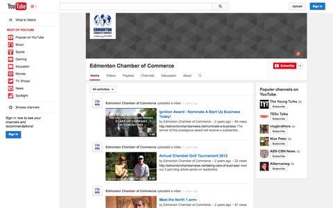 Screenshot of YouTube Page youtube.com - Edmonton Chamber of Commerce  - YouTube - captured Oct. 22, 2014