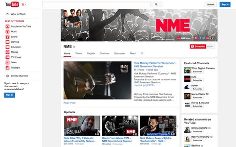 Screenshot of YouTube Page youtube.com - NME  - YouTube - captured Oct. 29, 2014