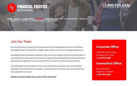 Screenshot of Jobs Page financialequities.com - Careers With Financial Equities - Financial Equities Mortgage Bankers - captured Oct. 13, 2017