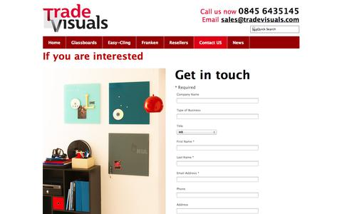 Screenshot of Contact Page tradevisuals.com - Contact Us | Trade Visuals - captured Oct. 7, 2014