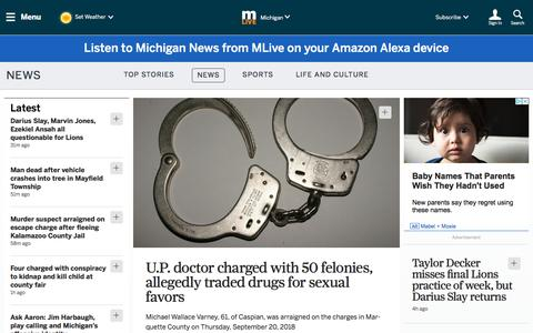Screenshot of Home Page mlive.com - Michigan Local News, Breaking News, Sports & Weather - MLive.com - captured Sept. 21, 2018