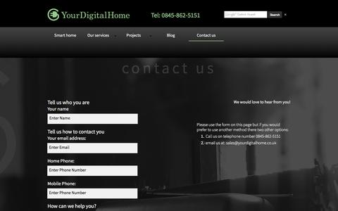 Screenshot of Contact Page yourdigitalhome.co.uk - YourDigitalHome - Contact us - captured Dec. 18, 2016