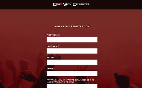 Screenshot of Signup Page demowithcelebrities.com - Start Selling | Demo With Celebrities - captured Jan. 7, 2016
