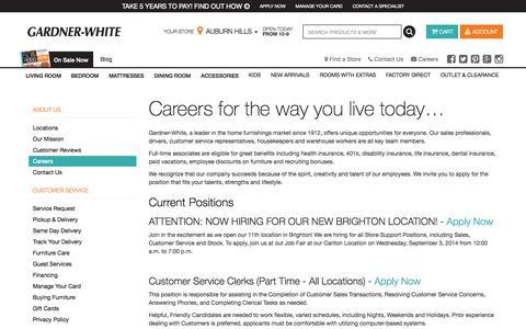 Screenshot of Jobs Page gardner-white.com - Careers at Gardner-White Furniture - captured Oct. 28, 2014