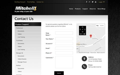 Screenshot of Contact Page mitchell1.com - Contact Us - Mitchell 1 Product Support - captured Aug. 15, 2016