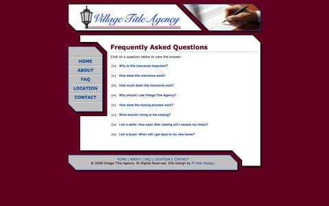 Screenshot of FAQ Page villagetitleagency.com - Village Title Agency - Frequently Asked Questions - captured Oct. 26, 2014