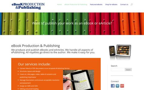 Screenshot of Home Page ebookproduction.com.au - eBook Production & Publishing - All royalties to Author - captured Feb. 2, 2016