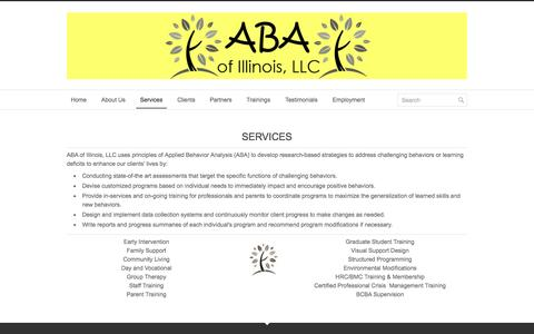 Screenshot of Services Page abaofillinois.org - Services - ABA of Illinois - captured Oct. 4, 2014