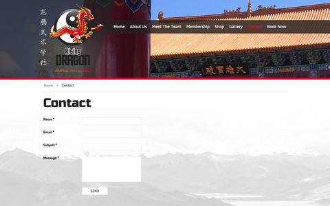 Screenshot of Contact Page risingdragonschool.com - Contact - Rising Dragon Martial Arts School, Learn Kung Fu in China - captured Feb. 15, 2016