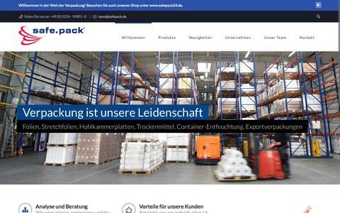 Screenshot of Home Page safepack.de - Safe Pack Sicherheitsverpackungen GmbH | einfach perfekt packen - captured Jan. 23, 2015