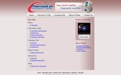 Screenshot of Site Map Page thermacor1200.com - Site Map - Thermacor 1200 from Smission Cartledge Biomedical - captured Sept. 13, 2014
