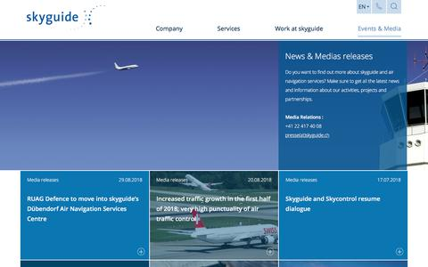 Screenshot of Press Page skyguide.ch - News & Media releases - skyguide - captured Sept. 20, 2018
