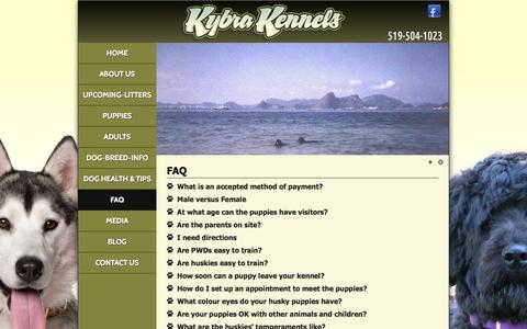 Screenshot of FAQ Page kybrakennels.ca - Kybra Kennels   FAQ - captured June 9, 2017