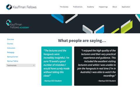 Screenshot of Testimonials Page kauffmanfellows.org - Testimonials | Kauffman Fellows - captured Jan. 16, 2016