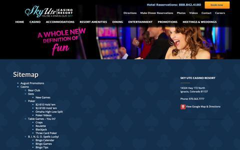 Screenshot of Site Map Page skyutecasino.com - Sitemap | Sky Ute Casino Resort - captured Nov. 7, 2018