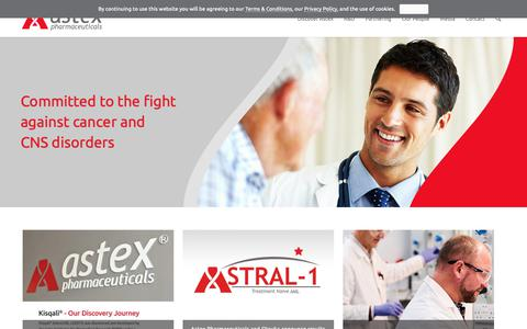 Screenshot of Home Page astx.com - Astex – Oncology and CNS Drug Discovery & Development - captured Oct. 4, 2018