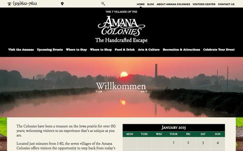 Screenshot of Home Page amanacolonies.com - Home : Amana Convention and Vistors Bureau - captured Jan. 23, 2015