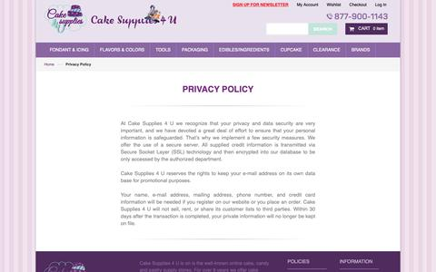 Screenshot of Privacy Page cakesupplies4u.com - Privacy Policy - captured Oct. 31, 2018