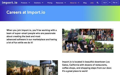 Careers - Import.io - Web Scraping, Web Scraper, Data Extraction, Web Extraction, Web Data, Web Harvesting
