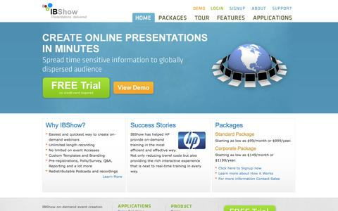 Screenshot of Home Page ibshow.net captured Sept. 30, 2014