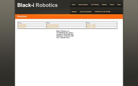 Screenshot of Maps & Directions Page blackirobotics.com - Black i Robotics - captured Sept. 13, 2014