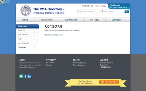 Screenshot of Contact Page pmadirectory.us - Contact The pma alternative health Directory - the pma directory - captured April 1, 2016