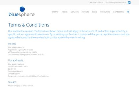Screenshot of Terms Page bluespherehealth.com - Terms & Conditions | Blue Sphere Health - captured Oct. 5, 2014