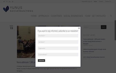 Screenshot of Press Page yunussb.com - News - Yunus Social Business - captured Nov. 26, 2015