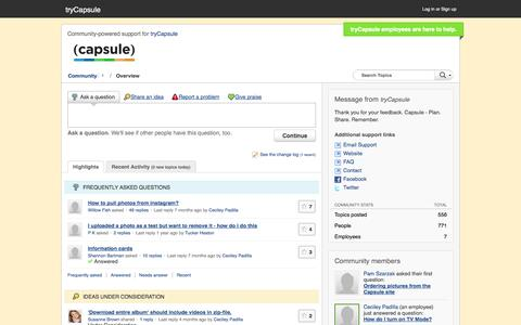 Screenshot of Support Page trycapsule.com - tryCapsule Customer Community - captured Sept. 19, 2014