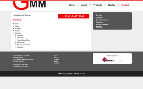 Screenshot of Site Map Page gmm.nl - Sitemap   Gobinda Mixed Metals - captured Aug. 20, 2017