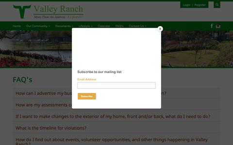 Screenshot of FAQ Page valleyranch.org - Valley Ranch Association - captured Oct. 20, 2018
