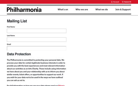 Screenshot of Signup Page philharmonia.co.uk - Mailing List | Philharmonia - captured Feb. 24, 2020