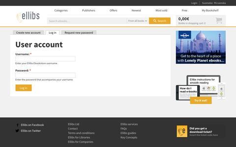 Screenshot of Login Page ellibs.com - User account | Ellibs Ebookstore - captured Nov. 5, 2016