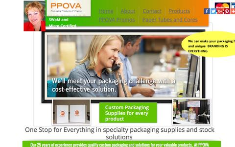 Screenshot of Home Page ppova.com - Custom Packaging Food and Beverage Packaging - captured Jan. 23, 2016