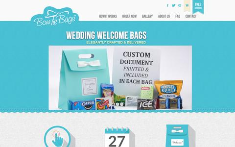 Screenshot of Home Page bowtiebags.com - Wedding Welcome Bags | Wedding Gift Bags, Wedding Hotel Gift Bags! - captured July 29, 2016