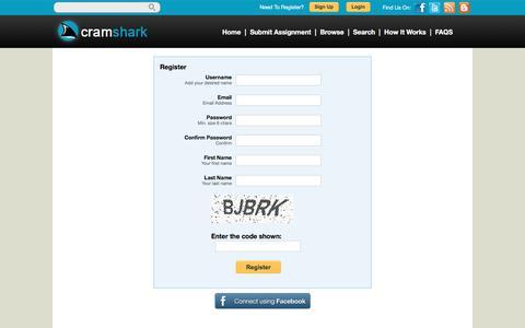 Screenshot of Signup Page cramshark.com - Register - Programming Homework Help   CramShark - captured May 22, 2017