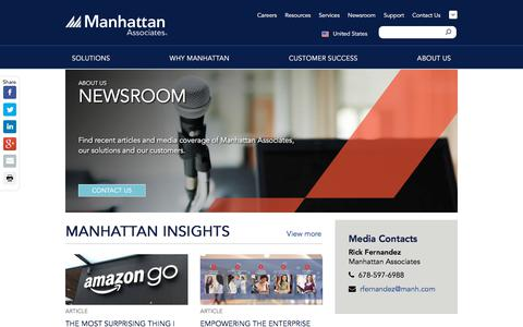 Screenshot of Press Page manh.com - Newsroom | Manhattan Associates - captured July 3, 2018