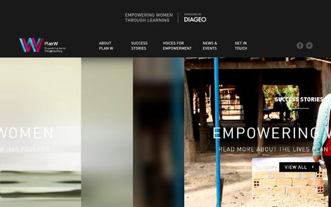 Screenshot of Home Page diageoplanw.com - Plan W | Empowering Women Through Learning - captured Jan. 27, 2016