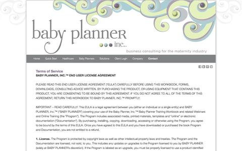 Screenshot of Terms Page babyplannerinc.com - Terms of Service | Baby Planner, Inc.™ - captured Oct. 6, 2014